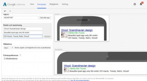 Sälja app via adwords-annonser